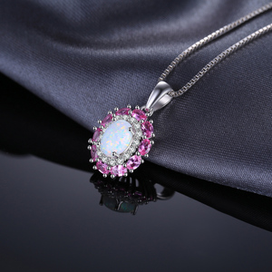 Image 2 - Created Created Opal Pink Sapphire Pendant Necklace 925 Sterling Silver Gemstones Choker Statement Necklace Women Without Chain
