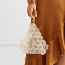 shell mini chain  pearl pendant crossbody bag