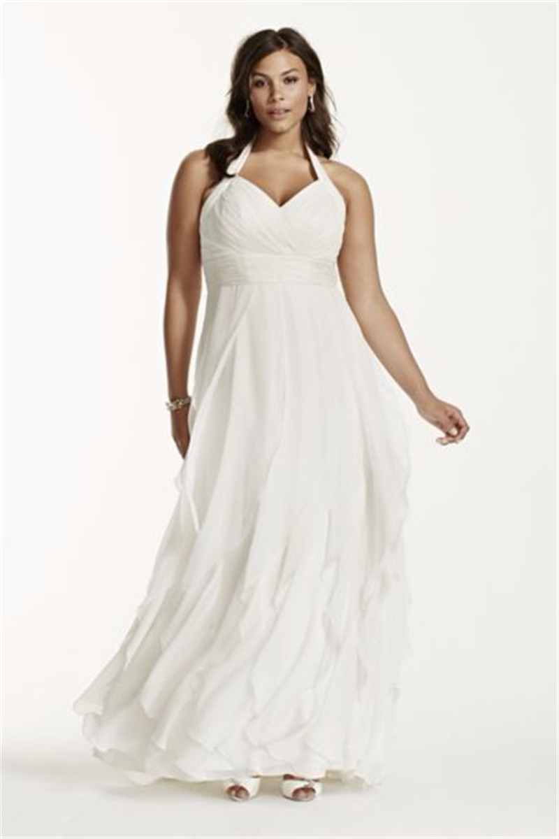 Halter Vestido De Noiva Chiffon Plus Size Ruched Halter Bodice Form-fitting And Flattering Bridal Gown 2018 Bridesmaid Dresses