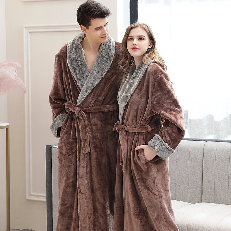 Lovers Winter Long Flannel Coral Fleece Warm Solid Bathrobe Women Men Kimono Pink Bath Robe Bridesmaid Sexy Dressing Gown