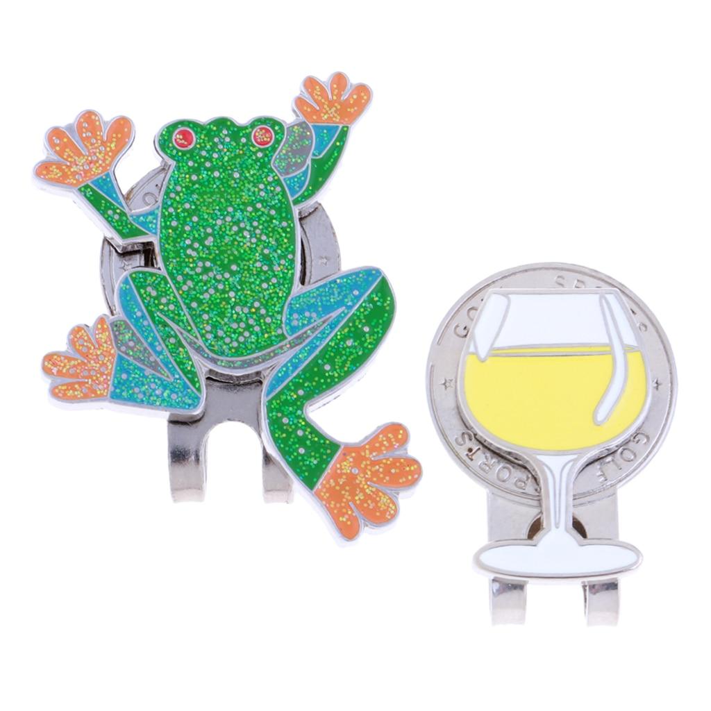 2x Portable Golfer Gift Souvenir Keepsake Detachable Magnetic Ball Marker Golf Hat Cap Clip Frog Golf Gift For Golf Lovers