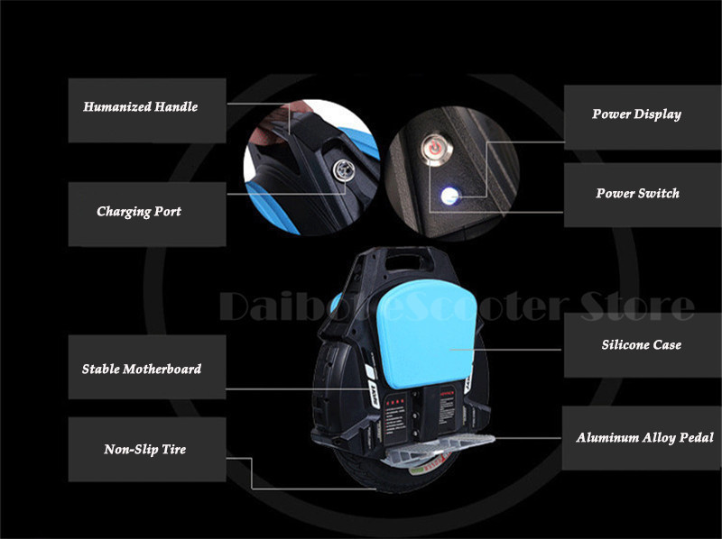 Daibot One Wheel Electric Unicycle Scooter Self Balancing Scooters With Bluetooth Speaker 500W 60V  Electric Scooter For Adults  (8)