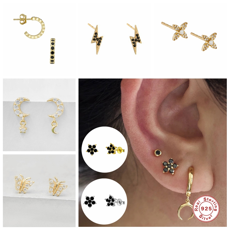 925 Sterling Silver Fine Jewelry Personalized CZ Puncture Piercing Stud Earrings For Women brincos oorbellen pendientes Gifts