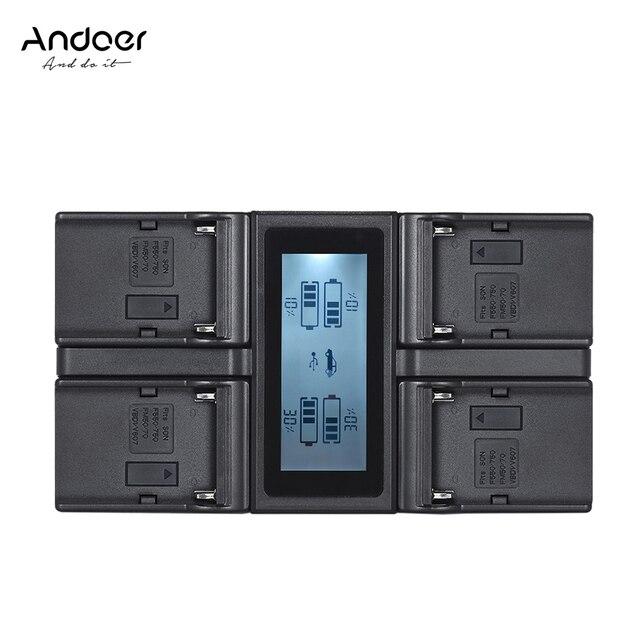 Andoer NP F970 4 ערוץ דיגיטלי מצלמה סוללה מטען w/LCD תצוגה עבור Sony NP F550 F750 F950 NP FM50 FM500H QM71