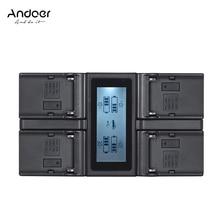 Andoer NP F970 cargador de batería para cámara Digital de 4 canales con pantalla LCD para Sony NP F550 F750 F950 NP FM50 FM500H QM71