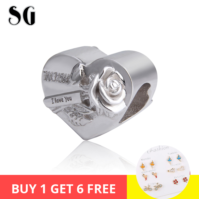 New Arrival 925 silver sterling Original Charms Mum I Love You Antique Bead Fit Authentic pandora Bracelet DIY jewelry Gifts in Beads from Jewelry Accessories