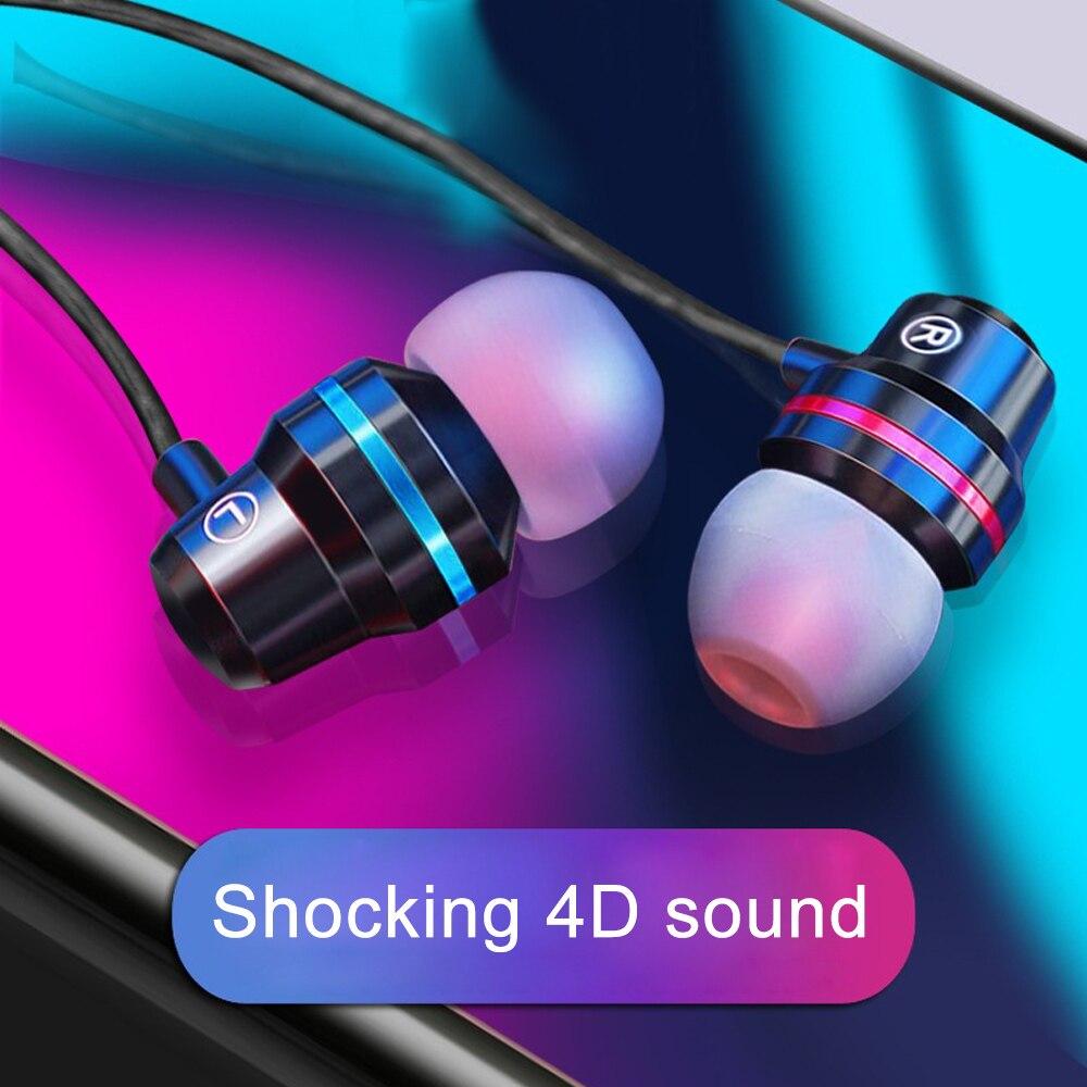 Metal Headphones Earphone Subwoofer Stereo Earplugs Headset With Mic Wired In-Ear Earphone For Xiaomi Redmi Note 6 7 8 Pro
