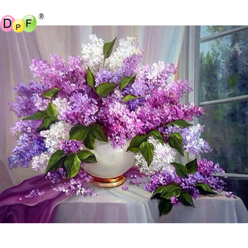 5D DIY Diamond Painting round/square Lilac flower Cross Stitch Diamond Embroidery kits Diamond Mosaic home Decorative drill image
