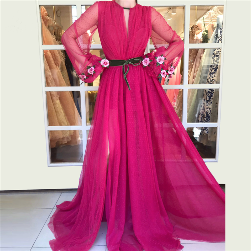 Vestido Longo Deep Pink Evening Party   Dresses   Long Sleeves Embroidery Flower Chiffon   Prom     Dress   High Split Side Party Gowns 2019