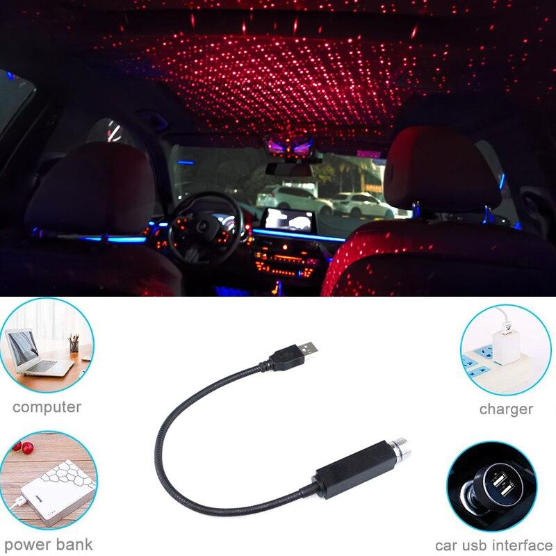 LED Car Roof Light Projector Flexible Night Light Atmosphere Galaxy Lamp Decorative Lamp Universal USB Plug Car Star Lights