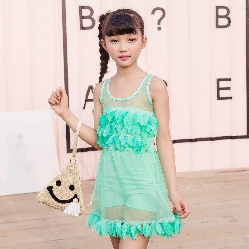 One-piece Swimsuit For Children Big Boy Sun-resistant Comfortable Little Princess Solid Color Skirt Boxer Bathing Suit Nt493123
