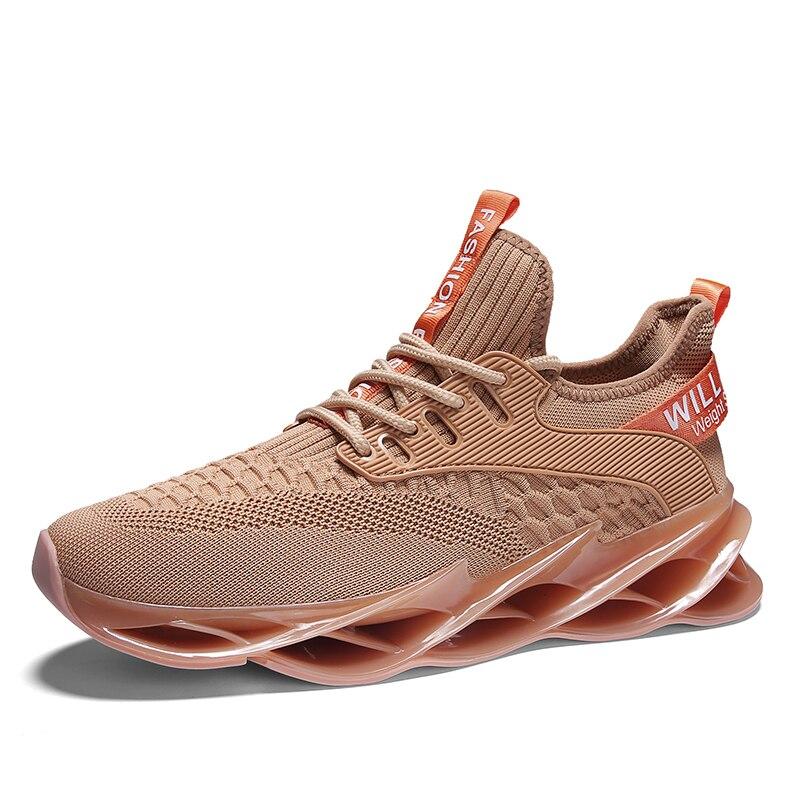 Новинка, мужские кроссовки для бега, бега, прогулок, спорта, высокое качество, на шнуровке, дышащие кроссовки - Цвет: 1912Apricot