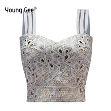 Young Gee Womens Elastic Bandage Short Cropped Tops Spaghetti Strap Sexy Busty Gold Feather Printed Fitness Crop Streetwear