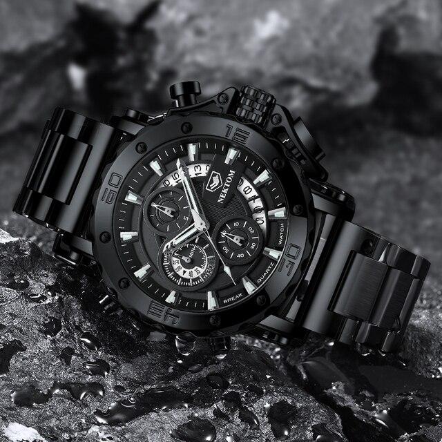 NEKTOM Men's Watches Quartz Watch Waterproof Watches Steel Strap Wristwatch Watches For Men Military Watch Clock Sports Watches 6