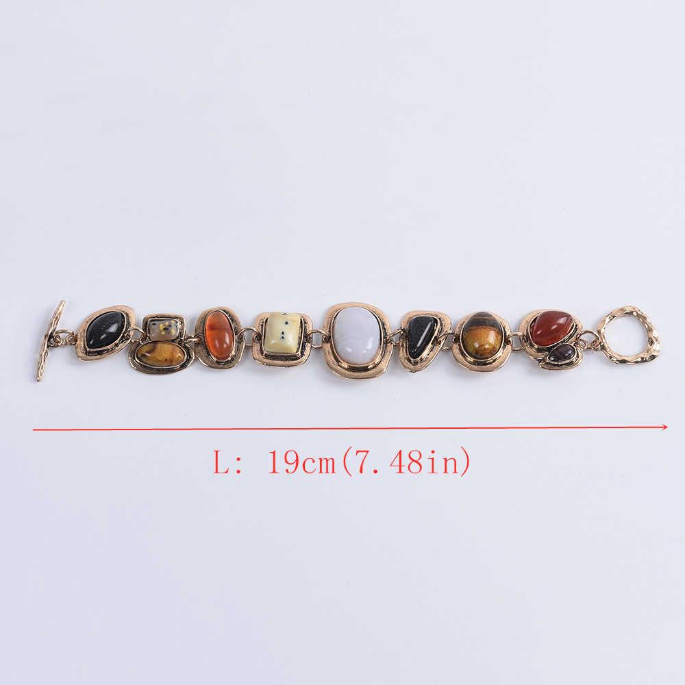 โบฮีเมียนสร้อยข้อมือผู้หญิง Za ความคมชัดโลหะ Hollow สร้อยข้อมือหินหญิง Vintage Statment มิตรภาพเครื่องประดับสำหรับผู้หญิง