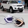 1 комплект Светодиодный светильник для Mitsubishi Pajero Sport 2013 2014 2015 DRL Дневной ходовой светильник Дневной светильник с желтым указателем поворота