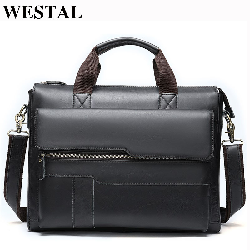 WESTAL Men Briefcases Men's Bag Genuine Leather Office Bag For Men Laptop Bag Leather Briefcase Handbags Lawyer/Work Bags  8165