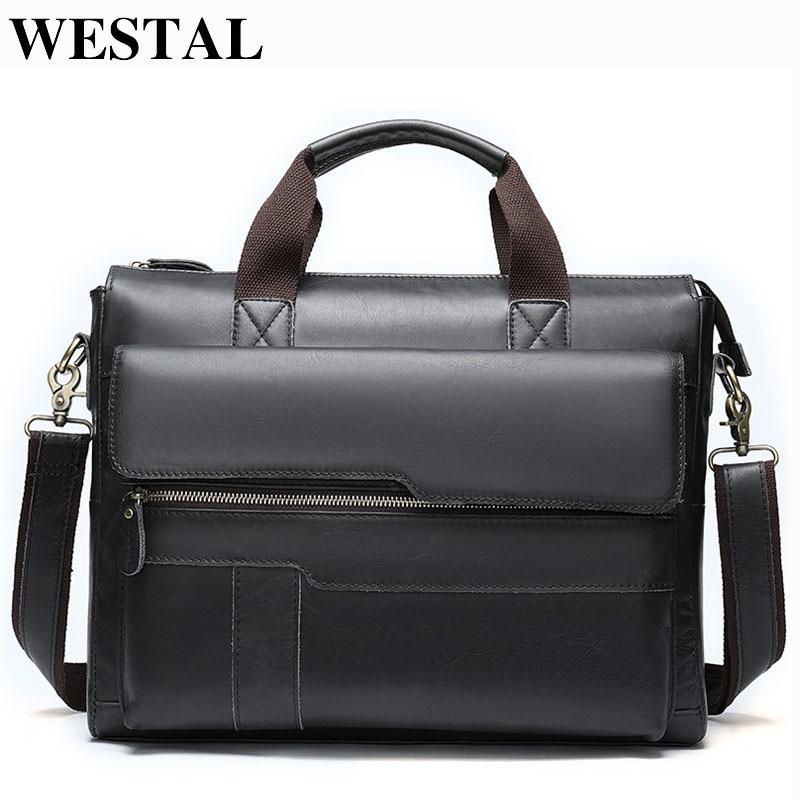 WESTAL Men Briefcases Men's Bag Genuine Leather Office Bag For Men Laptop Bag Leather Briefcase Handbags Lawyer/Work Bags  8165