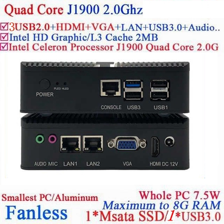 Fanless Mini PC Computer With Intel Celeron J1900 2.0GHZ Quad Core Hd Living Room Nano Pc With  RAM SSD Windows 7 10