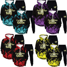 Latest 3D King And Queen Hoodies Pullovers Pants Trousers Valentine Matching Cute Lover Couples Crown Print