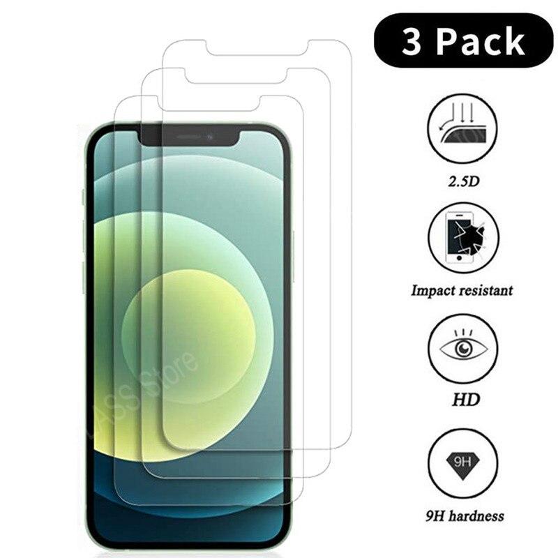 3 pçs vidro protetor de proteção para iphone 11 12 mini pro max protetor de tela vidro temperado para iphone 6 s 7 8 plus x xr xs max vidro