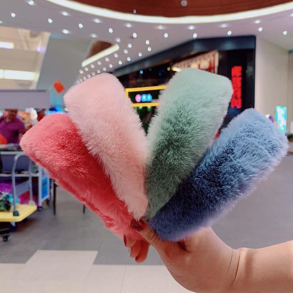 Korean Elegant Rabbit Fur Plush Headband For Women Girls Autumn Winter Temperament Wide Hair Hoop Hairbands Hair Accessories|Women