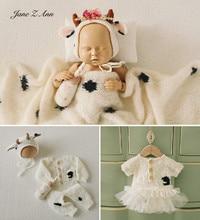 Cow year handmade knitted infant boys girls wool braided clothes wrap felt hat milk bottle baby  dress newborn photography prop