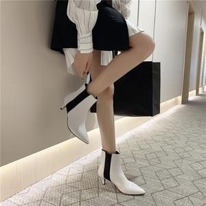 Image 4 - FEDONAS מותג אלגנטי גבירותיי עקבים דקים מסיבת נשף נעלי אישה חורף חם בתוספת גודל צ לסי מגפי אופנה נשים קרסול מגפיים