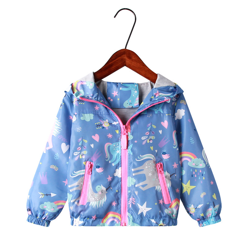Akyzic Toddler Girls Jacket Cartoon Unicorn Flamingo Rainbow Hooded Hoodies Zip-up Spring Autumn Coat Clothes for Kids