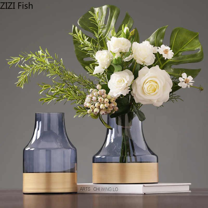 Modern Blue Gold Bottom Glass Vases Home Room Entrance Hydroponic Floral Decor Romantic Dining Table Flower Vase Home Decoration Vases Aliexpress