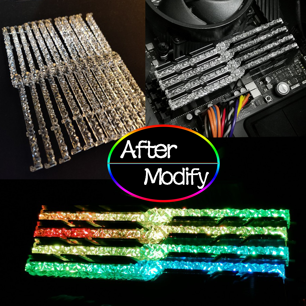 Mod Memory RAM Light Guide Bar For G Skill Trident Z RGB Change To Royal Series Band Improve Light Transmittance