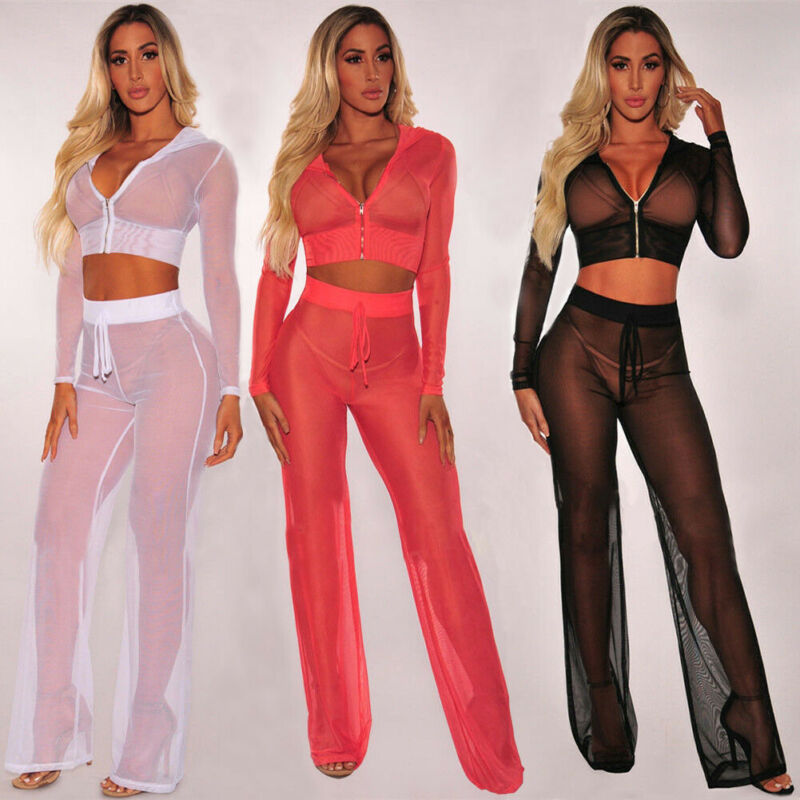 Women 2 Pieces Set Sheer Mesh Crop Top+Pants Cover Up Long Sleeve Swimwear Beach Sexy Set