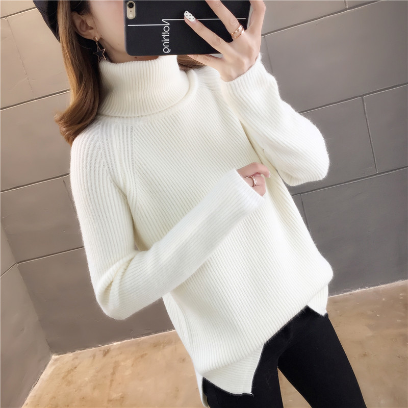 Five Colors Solid Turtleneck Slim Long Sleeve Fashion Winter Pull Femme Knitted Sweater Pullover   New 2019 Female Women Stripe