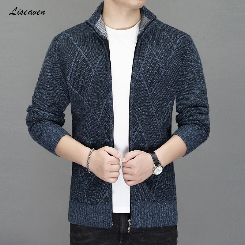 Liseaven Men's Cardigans Winter Jackets Men Knitwear Coat Sweater Stand Collar Warm Sweatercoat Men's Jacket Coats