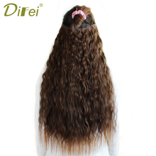 DIFEI Long Curly Natural Hair Extentions Black Brown Synthet