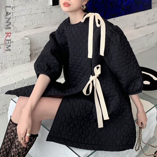 LANMREM 2021 New Spring Autumn Dress Women Puff Sleeve Plus Size O Neck Cotton Short Dresses Fashion Streewear Clothes 2A3297 1