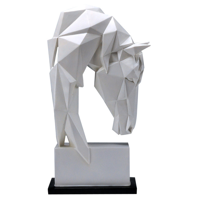 Nordic Simplicity Geometric White Horse Head Statues Animals Art Sculpture Resin Craft Home Decoration Crafts Room Creative