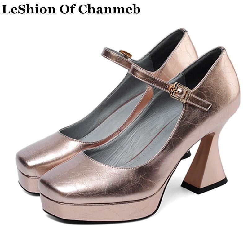 Ayakk.'ten Kadın Pompaları'de 2020 yeni en kaliteli inek deri kadın pompaları bayanlar boyutu 33 43 Gotik ayakkabı kadın platformları tek yüksek topuklu Mary Janes Pompaları'da  Grup 1