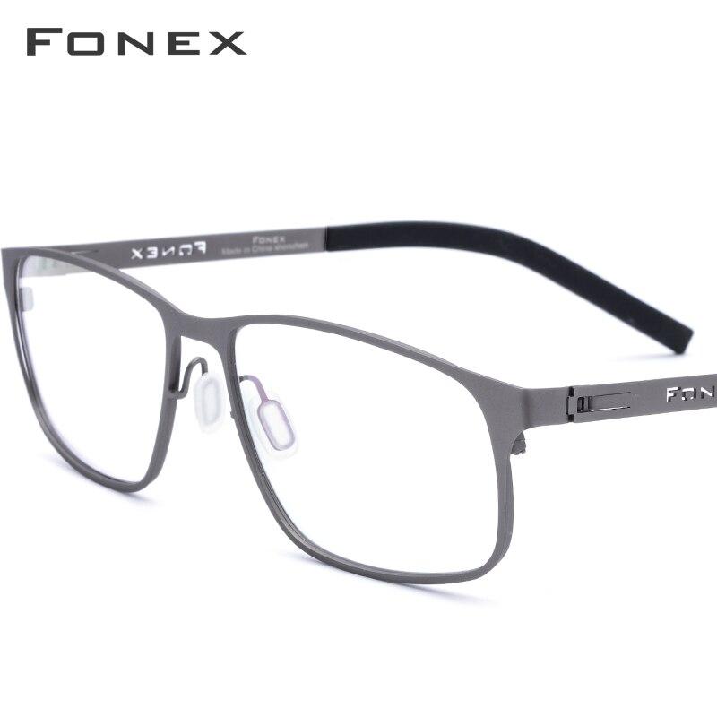 FONEX Alloy Optical Prescription Glasses Ultralight Square Myopia Eyeglasses Frame Men 2019 New Full Rim Screwless Eyewear 983