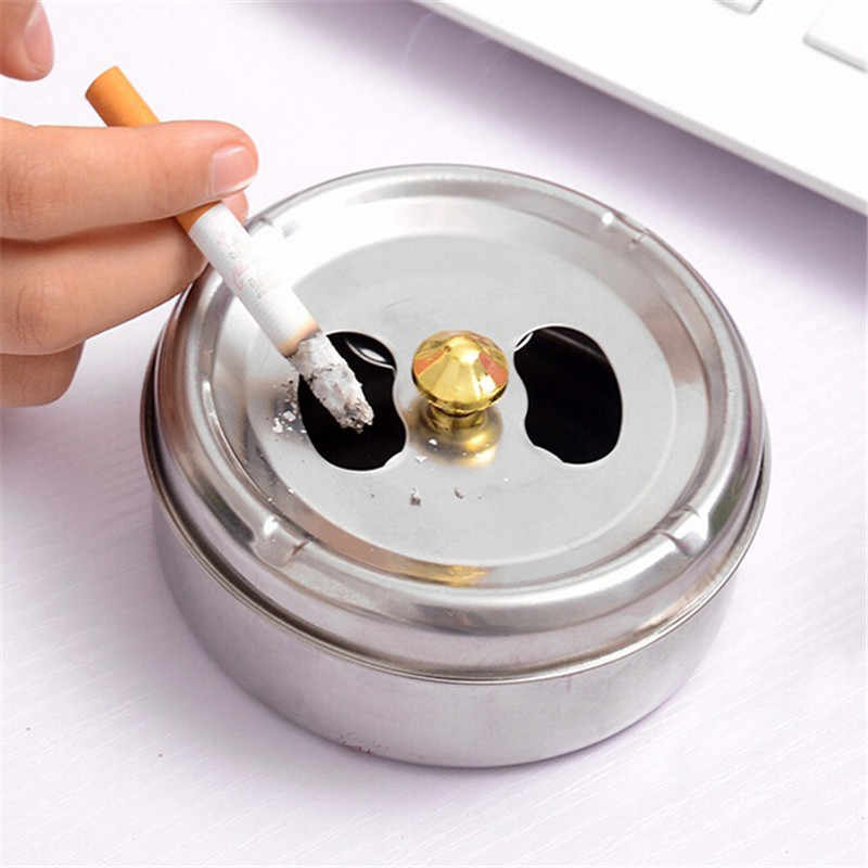 Round Spinning Ashtray With Cover Practical Smoking Accessories Stainless Steel Ashtray Lid Rotation Fully Enclosed Home Gadgets