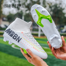 BUFEIPAI Turf Black Men Soccer Shoes Kids Cleats Training Football Boots High Ankle Sport Sneakers Size 35-46 Dropshipping