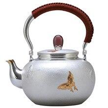 Teapot, kettle, hot water teapot, iron teapot, stainless steel kettle, tea bowl, 1200ml capacity, handmade S999 sterling silver stainless steel water kettle 1200ml