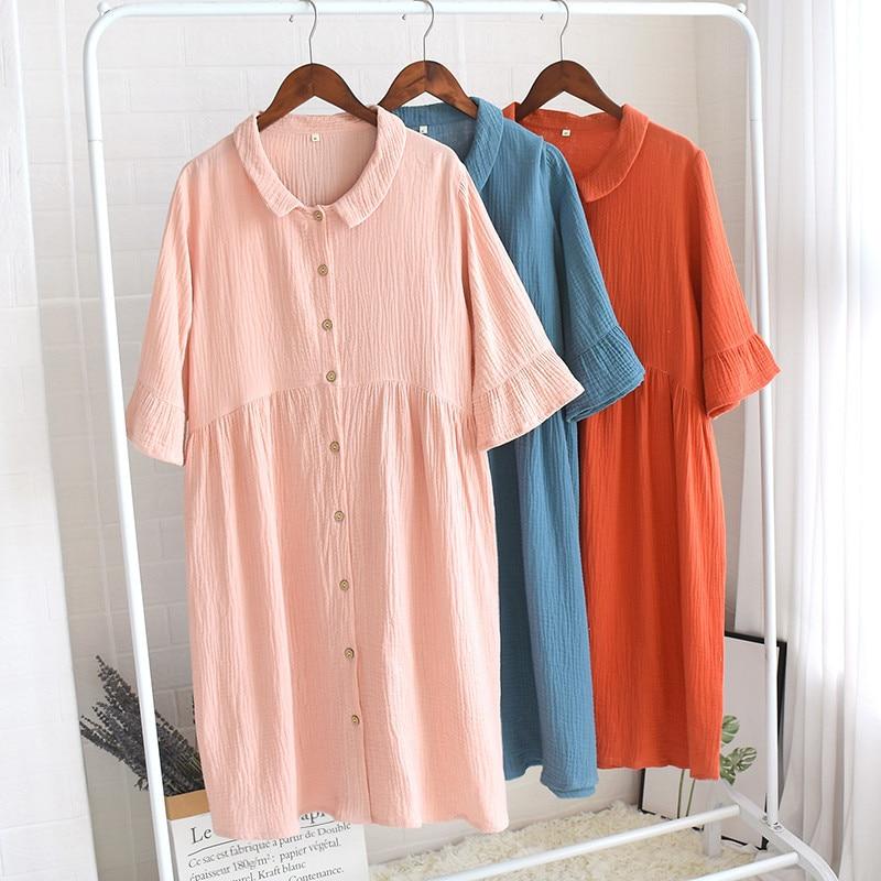 Summer 100% Cotton Nightdress Half-Sleeve Ruffled Women Sleepwear Solid Loose Leisure Night Dress Crepe Fabric Nightgown
