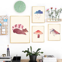 Abstract Cute Cartoon Animals and Plants Posters and Prints Canvas Paintings Wall Art Pictures for Living Room Decor No Frame