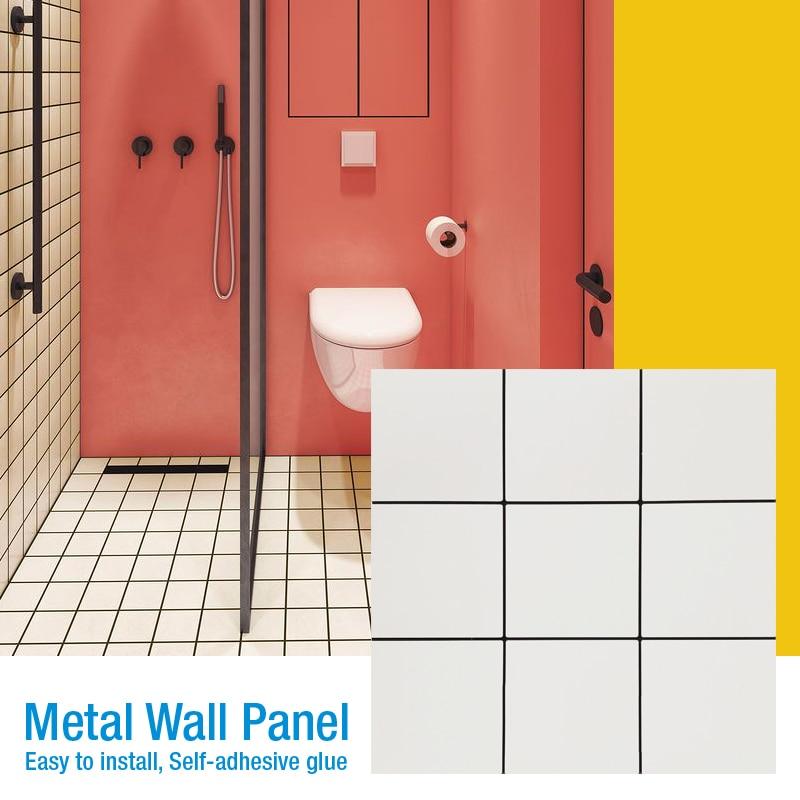3D Metal Mosaic Wall Panel Self-adhesive Wall Tiling Wallpaper Waterproof Anti-soft Bag Bedroom Floor Ceramic Tile Wall Stickers