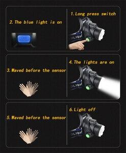 Image 4 - Smart IR Sensor LED Scheinwerfer Licht 5/3 T6 Zoom High Power Wiederaufladbare Angeln Laterne 18650 Kopf Taschenlampe Wasserdicht