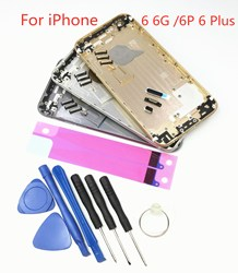 Mới Sau Ốp Lưng Pin Dự Phòng Cho iPhone 6 6G 6 P 6 Plus Pin Cửa Kim Loại Trung Khung khung Xe Nắp Lưng Thay Thế Một Phần