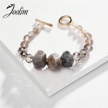 Joolim модный розовый серый Амазон камень браслет высокого качества ювелирные изделия оптом