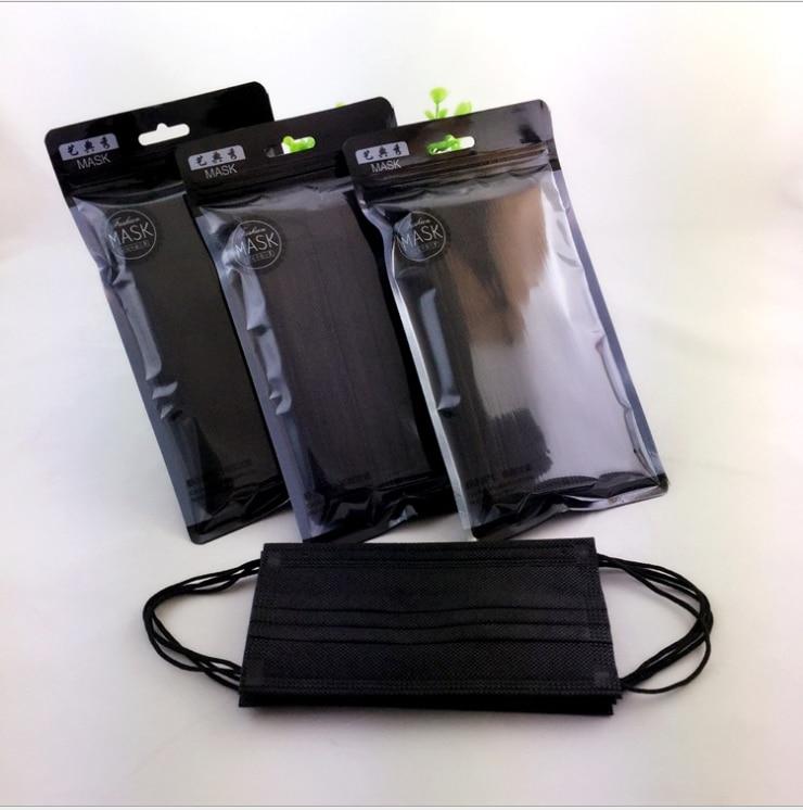 Disposable Respirator Non-woven Thin Summer Men's And Women's Ventilating Respirator Black 10 Pack