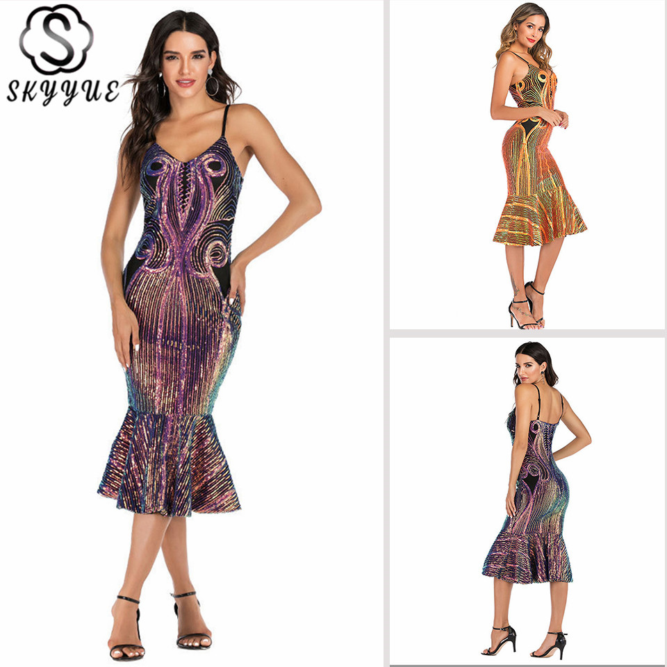 Skyyue Cocktail Dress Woman Sequined V-Neck Sleeveless Robe Cocktail Gown YM054 Spaghetti Strap Mermaid Robe Cocktail фото